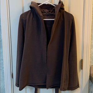 Hooded sweater w/tie waist